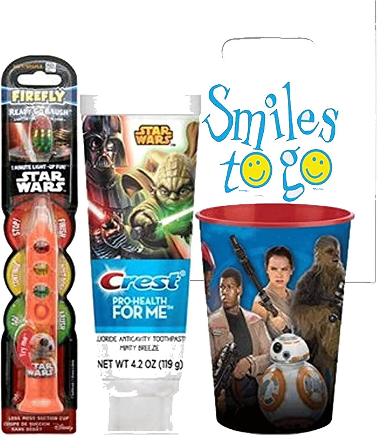 "Star Wars BB-8 3pc Bright Smile Oral Hygiene Set! (1) Star Wars Light up Toothbrush (1) Minty Breeze Toothpaste & Mouthwash Rinse Cup! ""Remember to Brush"" Visual Aid!"