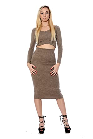 15c3b7924a5 Long Sleeve Crop Top And High Waist Skirt Set at Amazon Women's Clothing  store: