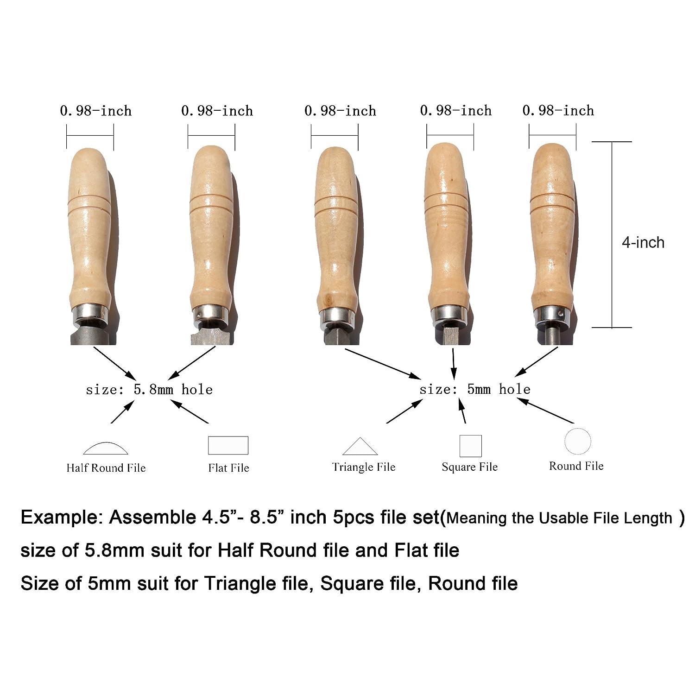 Large Manche bois pour lime Poign/ée de dossier en bois avec des colliers m/étalliques solides
