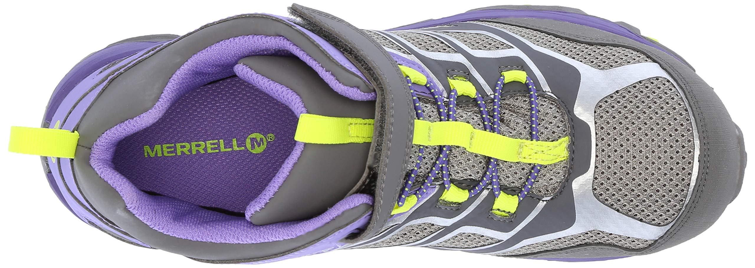 Merrell Girls' Moab FST Mid A/C WTRPF Hiking Shoe, Grey/Purple, 3.5 Medium US Big Kid by Merrell (Image #8)