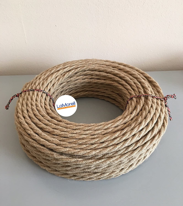 Textilkabel fü r Lampe, Stoffkabel 3-adrig (3x0,75mm² ) - Jute. Made in Italy (15 Meter) LaMorell LightDesign