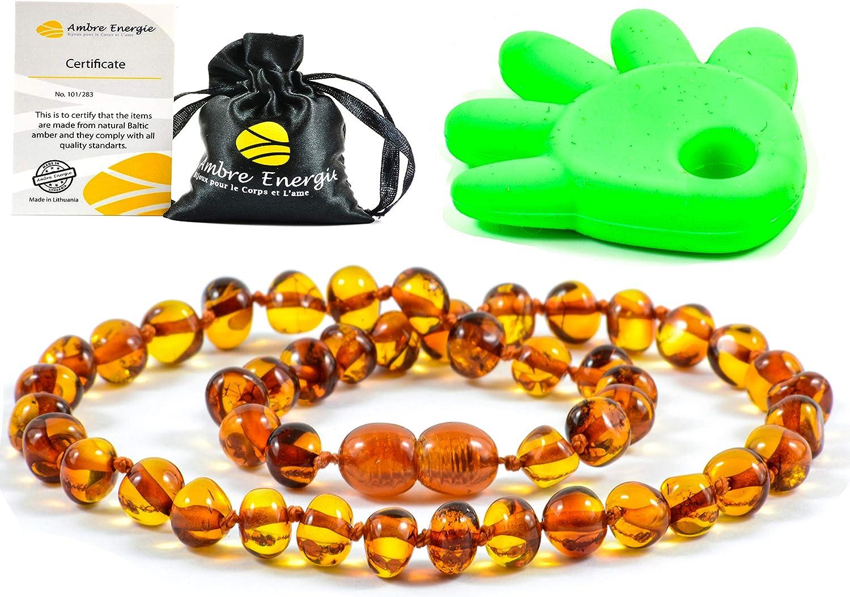 AmberJewellery Collar de Ambar 33cm. - De la Máxima Calidad Certificado Genuino Collar de Ámbar Báltico/Rápido Entrega / 100 Días de Garantía de Devolución de Dinero! (Cognac)