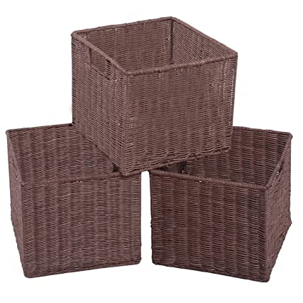 Giantex Set Of 3 Wicker Rattan Storage Baskets Nest Nesting Cube Bin Box  Organizer Home (