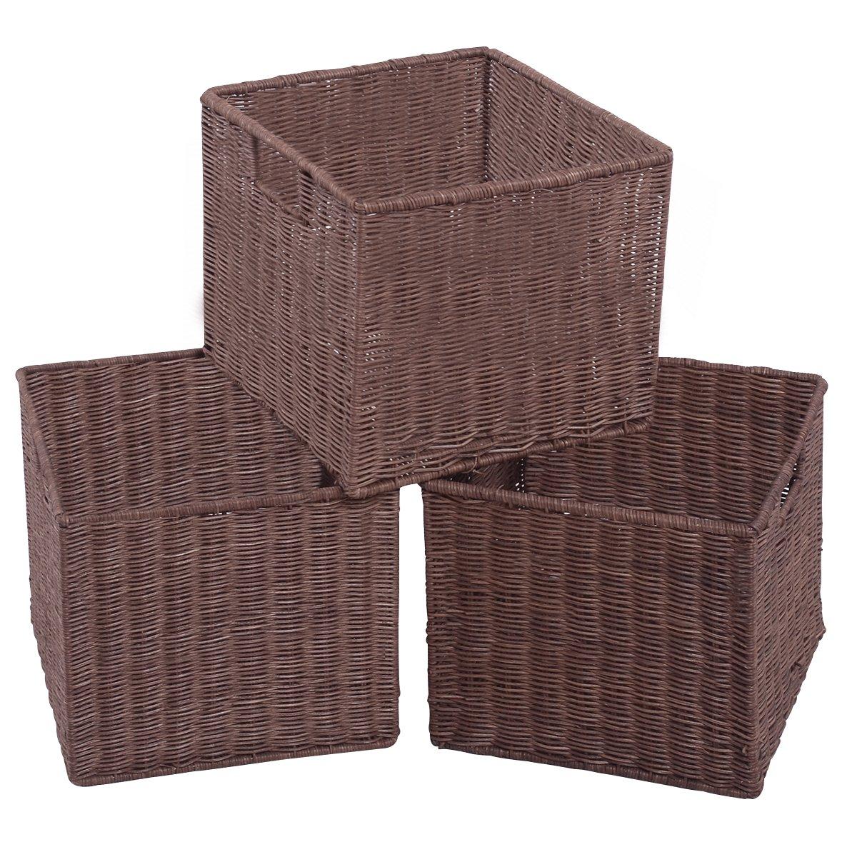 Giantex Set of 3 Wicker Rattan Storage Baskets Nest Nesting Cube Bin Box Organizer Home (3Wicker Rattan Covered)