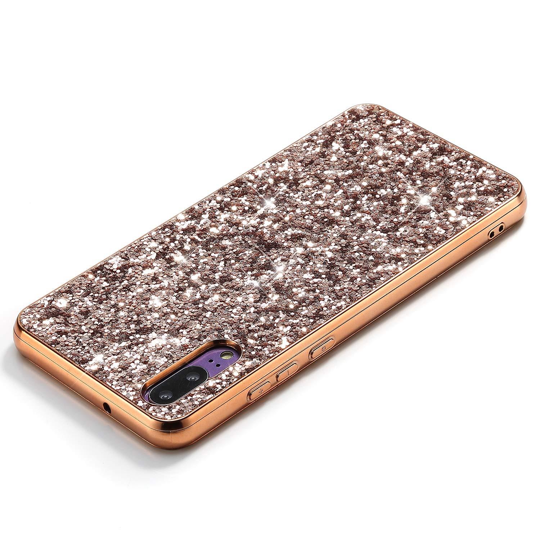 Herbests Kompatibel mit Huawei P20 Handyh/ülle Glitzer Bling Sparkle Kristall Strass Diamant Schutzh/ülle Weiche TPU Bumper Silikon H/ülle Case Handytasche Ultrad/ünn Cover,Rot