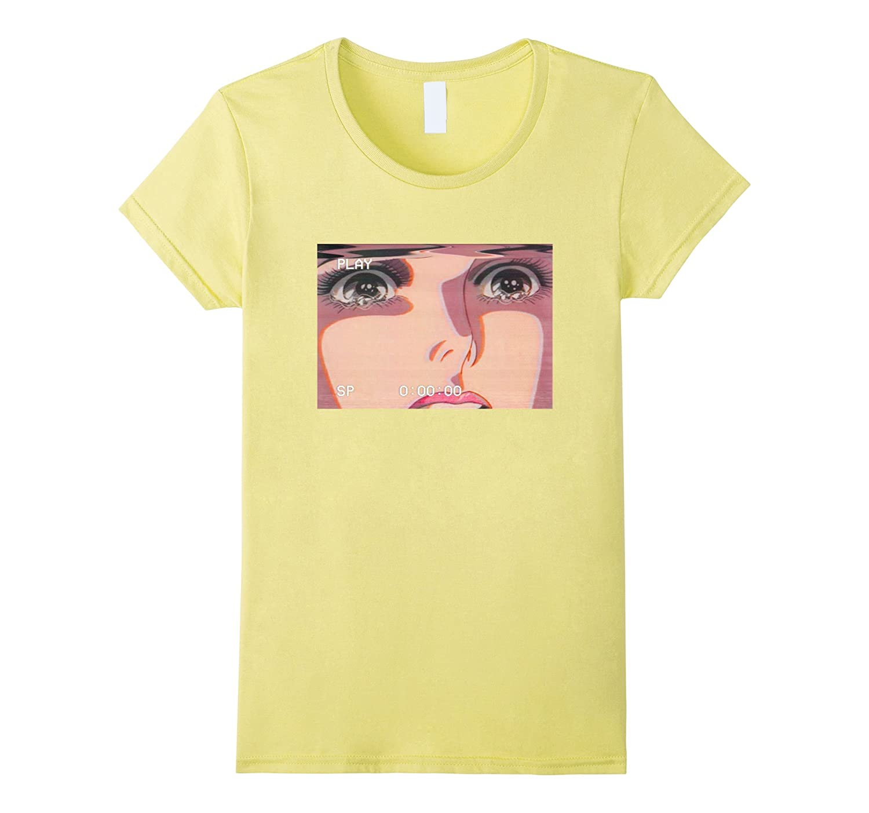 Amazon com sad retro anime crying eyes vaporwave t shirt clothing