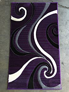 Modern Purple,Black & Grey Door Mat Area Rug Swirl Contempo 344 (2 Feet X 3 Feet 4 inch)