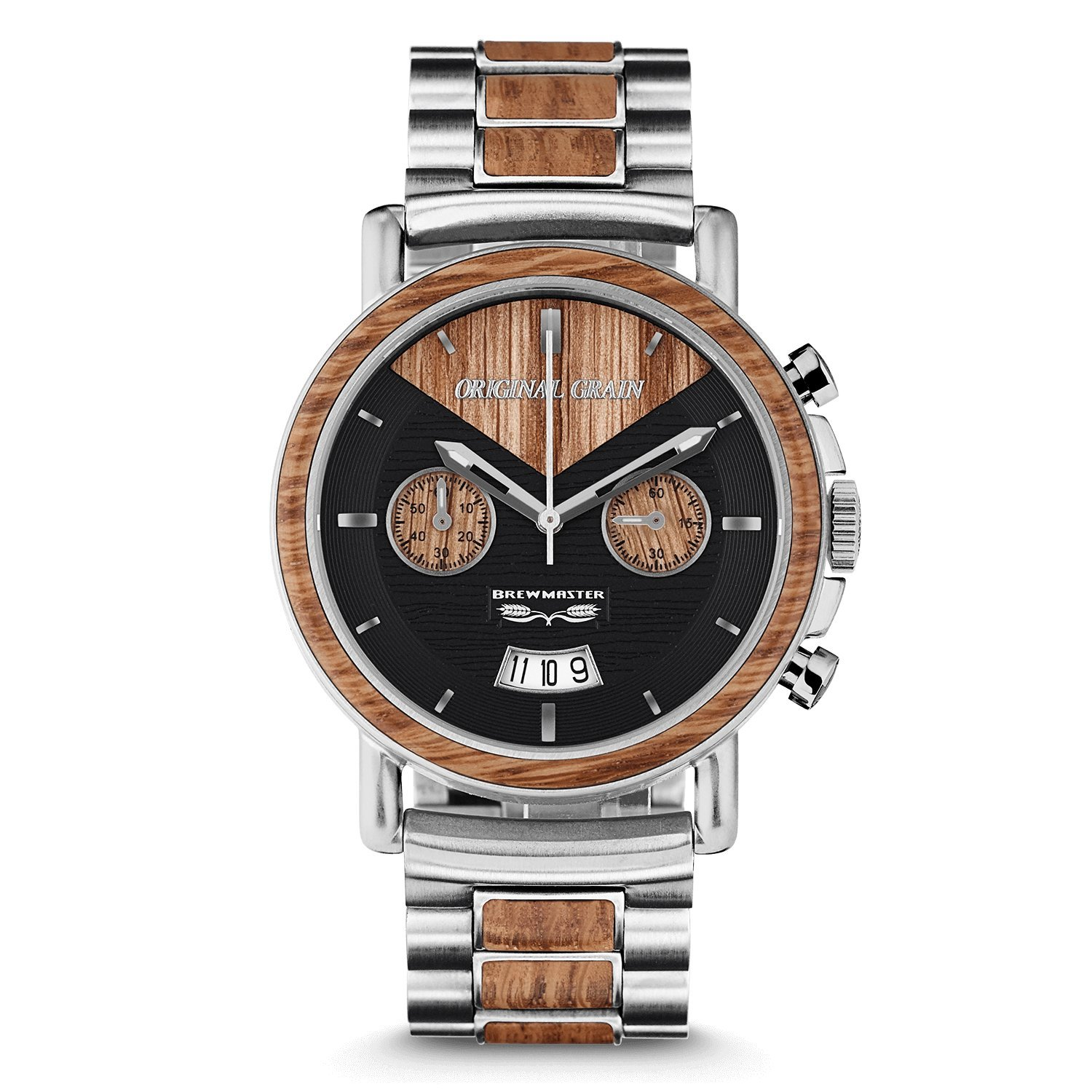 Original Grain Wood Wrist Watch | Brewmaster Collection 44MM Chronograph Watch | Wood And Stainless Steel Watch Band | Japanese Quartz Movement | German Oak Beer Barrel Wood