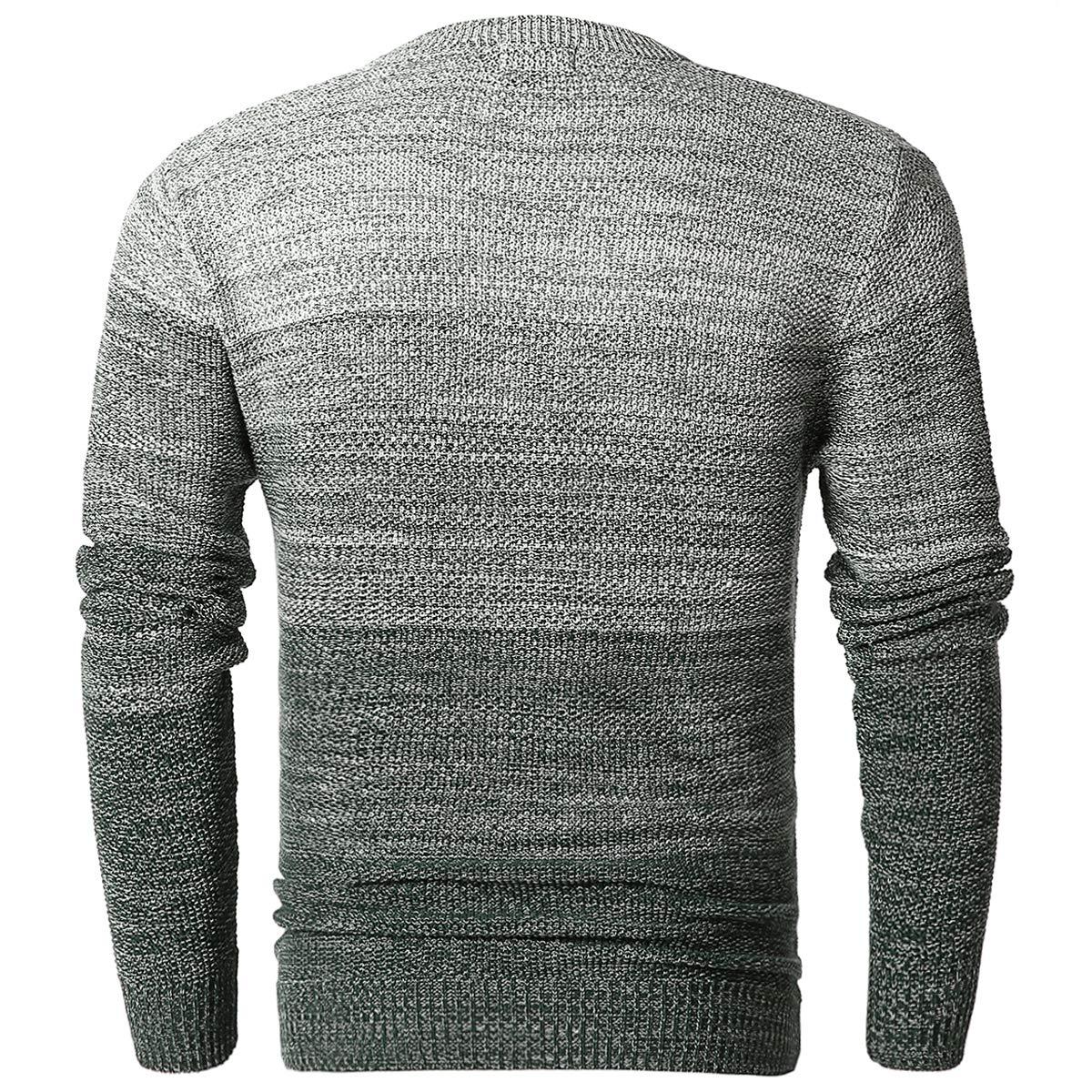72c9cbd5b Amazon.com: Men's Stylish Gauge Knitted Pullover Crew Neck Sweater: Clothing