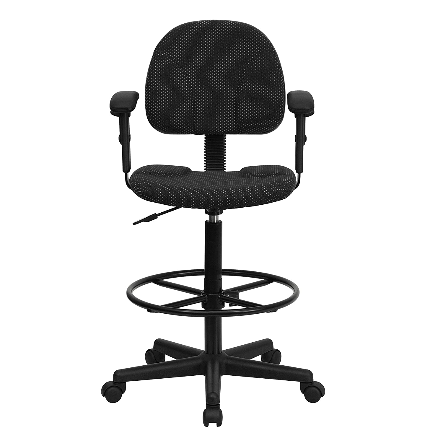 Amazon.com Flash Furniture Black Patterned Fabric Drafting Chair with Adjustable Arms (Cylinders 22.5u0027u0027-27u0027u0027H or 26u0027u0027-30.5u0027u0027H) Kitchen u0026 Dining  sc 1 st  Amazon.com & Amazon.com: Flash Furniture Black Patterned Fabric Drafting Chair ... islam-shia.org