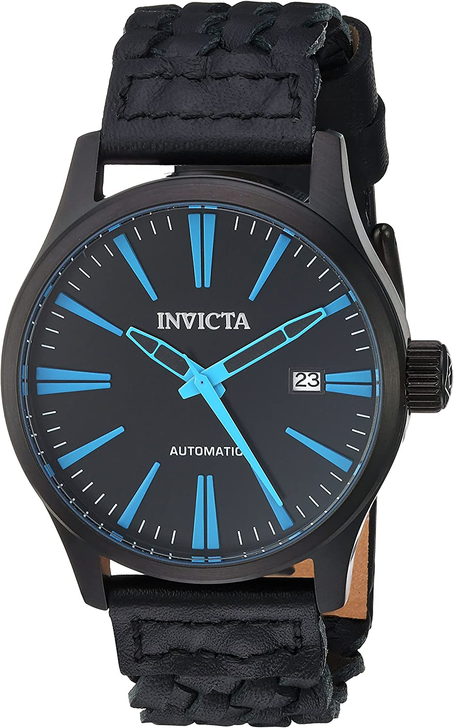Invicta Men s I-Force Stainless Steel Automatic-self-Wind Watch with Leather Calfskin Strap, Black, 21 Model 23778