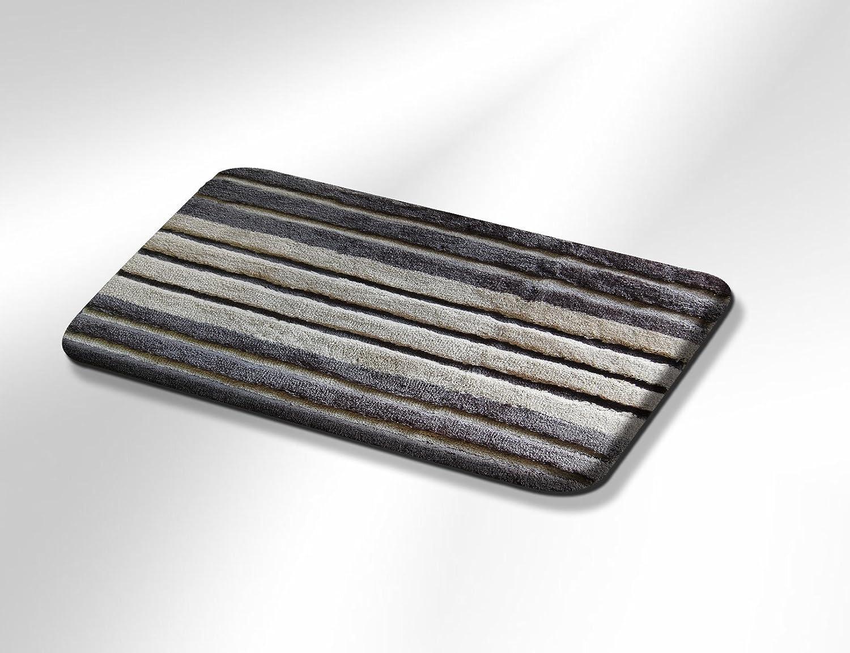 Vonella Badematte WC Vorleger Badteppich Design Coast 25 mm Florhöhe (Grau, 70x110 cm)