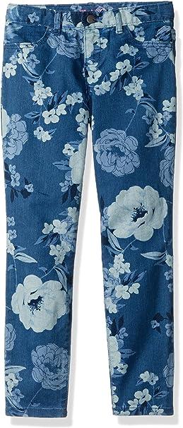 Kids Toddlers Blue Floral Design Stretch Denim Jegging Jean Legging