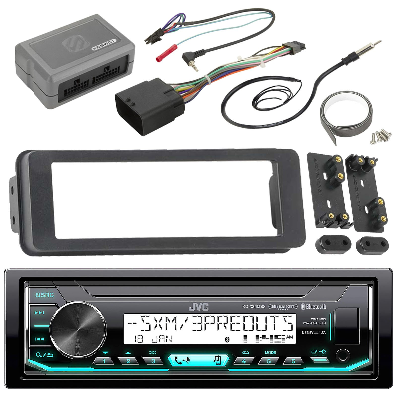 JVC KDX33MBS Marine Radio Stereo Receiver For 1998 2013 Harley Davidson Touring Filth Flux Fletch Bundle With Scosche Adapter Dash Kit With Handle Bar Control Module + Enrock Wire Antenna by Enrock JVC Scosche