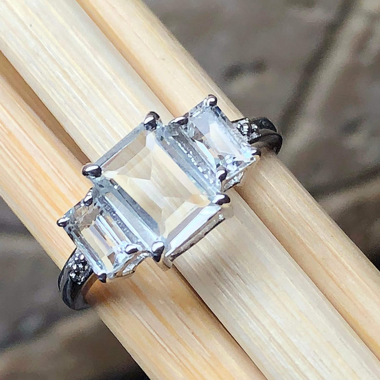 Natural 2ct Aquamarine 925 Solid Sterling Silver Emerald Cut 3-Stone Ring sz 5.75, 6, 8.75, 9