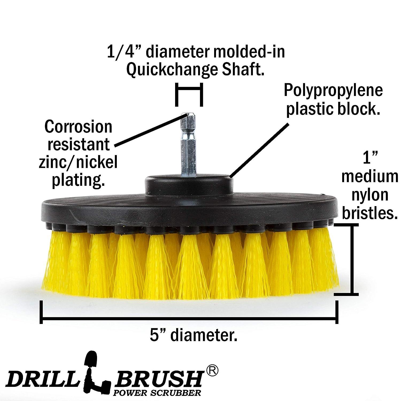 Drill Brush Power Scrubber Jaune 13cm Fixation Pour Perceuse sans fil /électrique Scrubber pour les carreaux en fibre Sol Tapis Tapis Tapisserie place Nettoyage Nettoyage g/én/éral