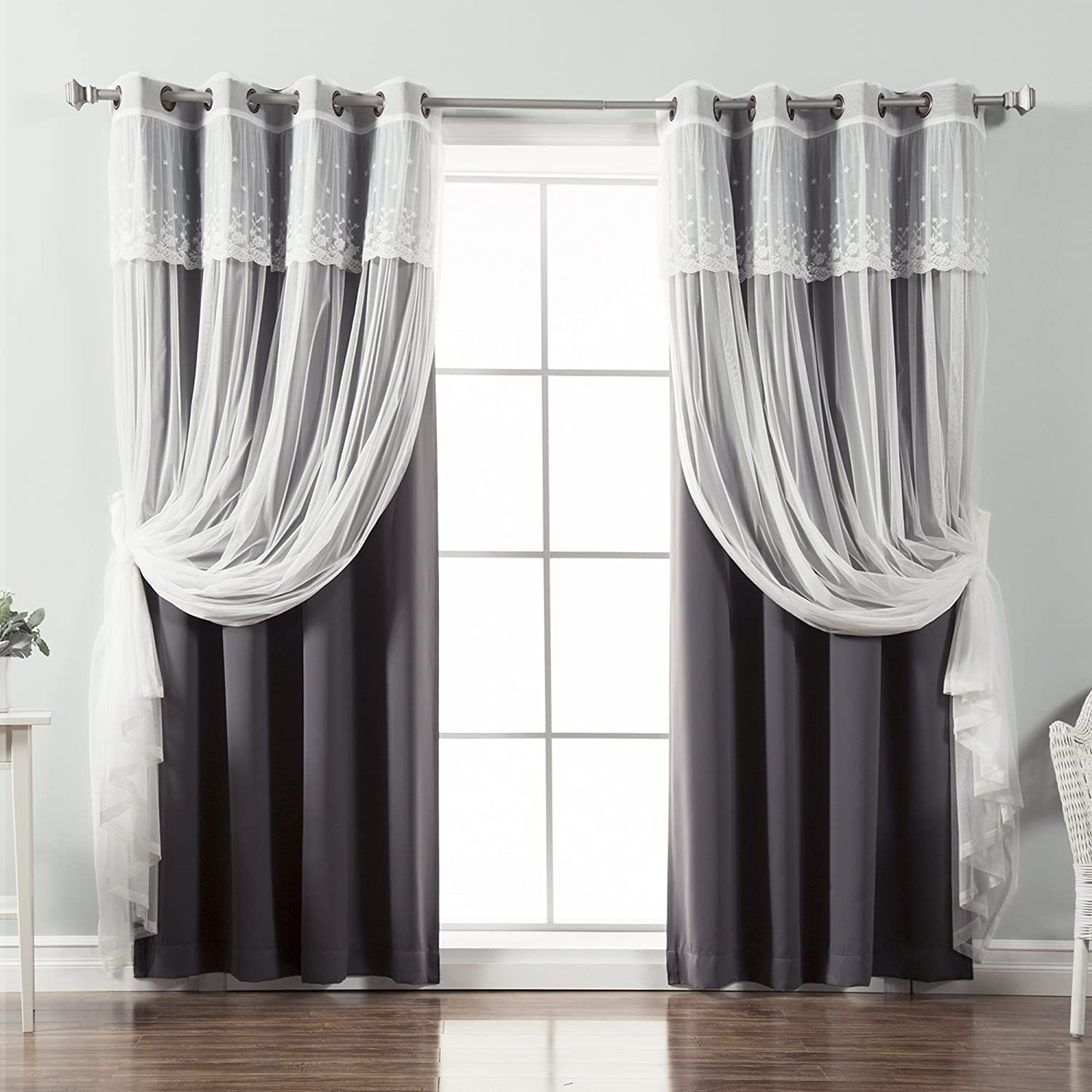 Best Home Fashion Mix & Match Tulle Sheer with Attached Valance & Solid Blackout Curtain Set, Stainless Steel Nickel Grommet Top, Beige, 52