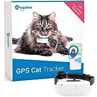 Tractive TRKAT1 Lekki i Wodoszczelny Lokalizator GPS dla Kotów, 7,2 cm x 2,9 cm x 1,6 cm, Czarny/Biały