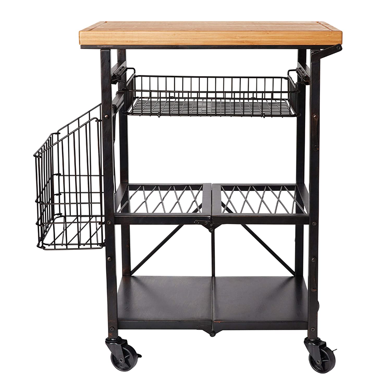 Amazon.com: Artesa Bamboo Wood Folding Kitchen Cart with ...