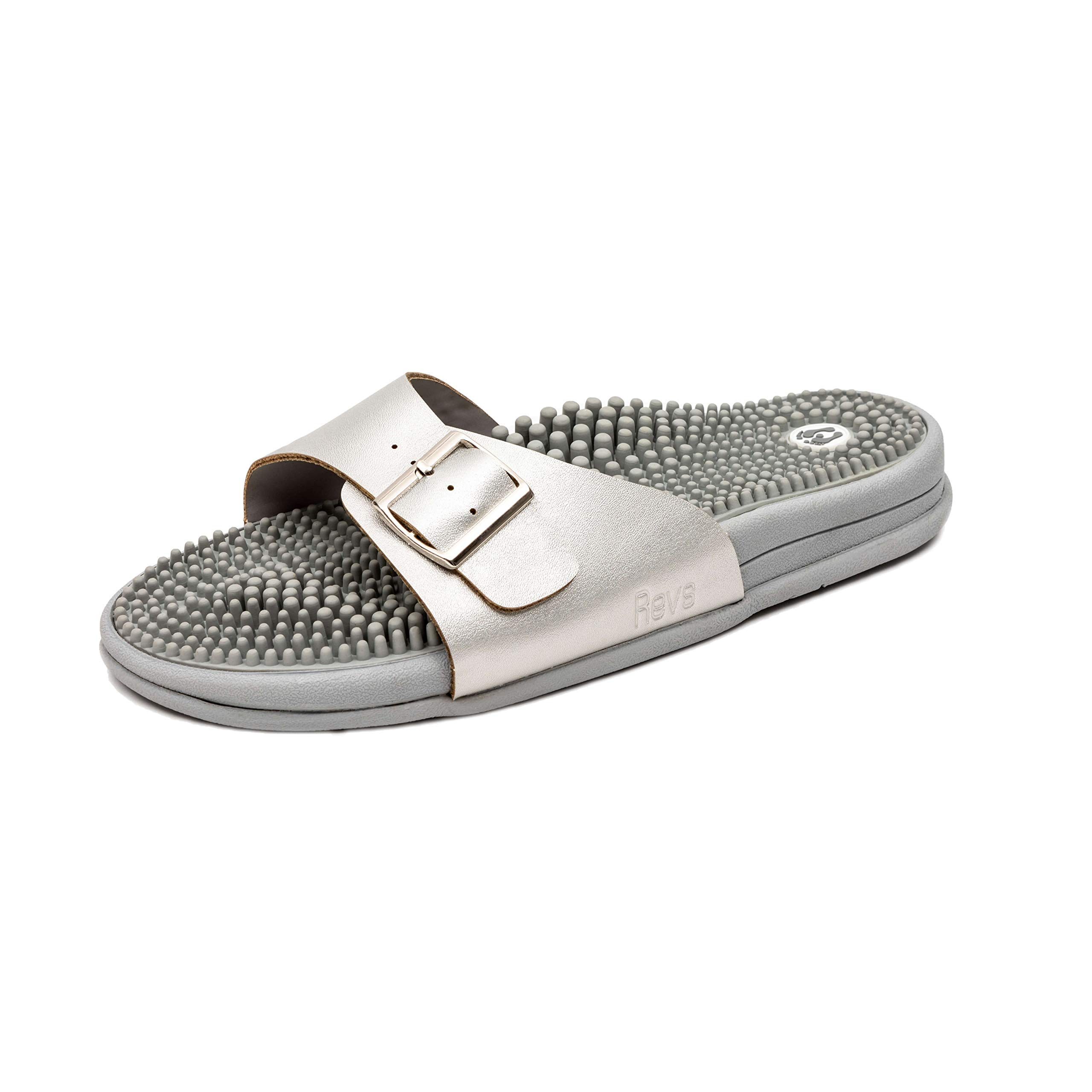 Revs Premium Pain Relief Sandals in Metallic Silver. Reflexology Massage & Acupressure, Shock Absorbing, Cushion Sole with Arch Support by Revs