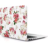 iDOO Hard Case for MacBook Air 13 inch Model A1369 / A1466 - Matte Plastic Frosted Rubber Coated Protective Shell Cover - Floral Rose