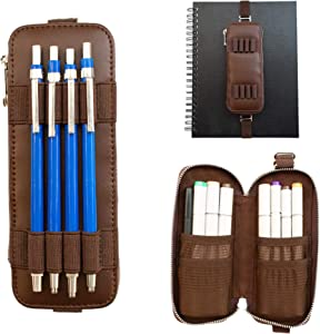 The Perfect Pencil Case, Artist Pencil Case, Genuine Leather Pencil Case, Attaches to Sketchbook Notebook, Artist Supplies Holder, (Holds up to 8 Artist Markers, Brown)