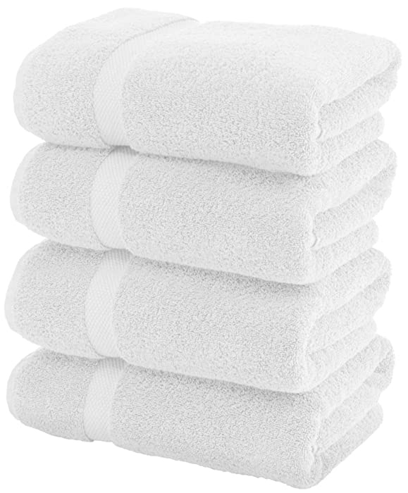 Luxury White Bath Towels Large - Circlet Egyptian Cotton   Highly Absorbent Hotel spa Collection Bathroom Towel   27x54 Inch   Set of 4