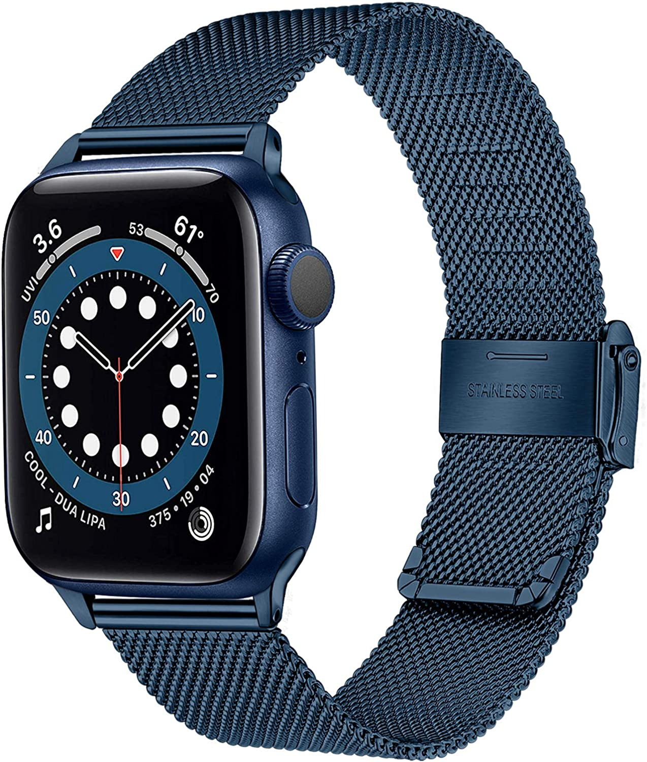 TRUMiRR Blue Band for Apple Watch Series 6 42mm 44mm Men Women, Mesh Woven Stainless Steel Watchband Replacement Strap Bracelet for iWatch Apple Watch SE Series 6 5 4 3 2 1 42mm 44mm