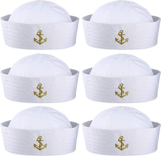 6 Piezas Sombrero de Marinero Blanco de Halloween Gorro de Capitán ...