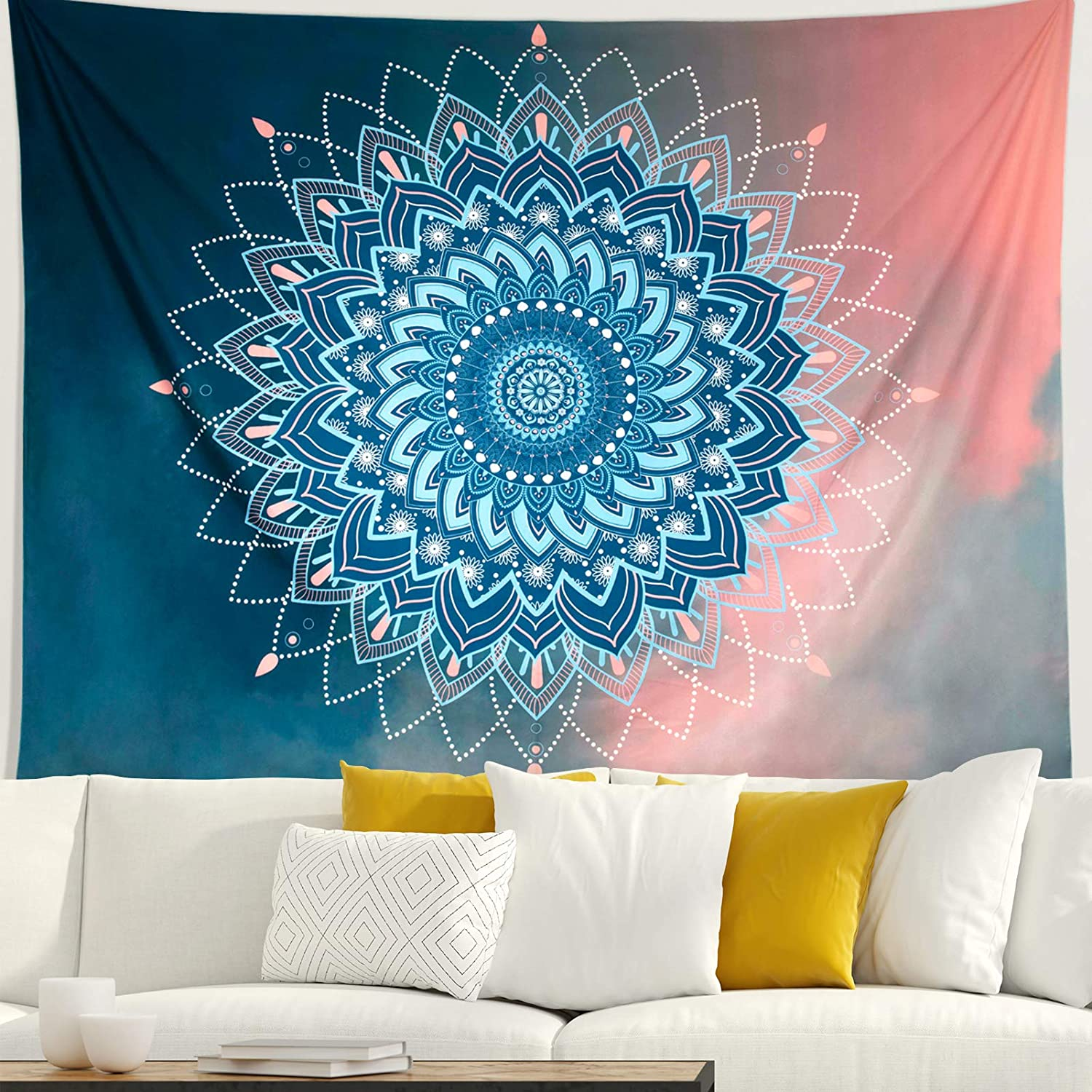 FLY SPRAY Mandala Tapestry Wall Hanging,Blue Pink Hippie Bohemian Flower Psychedelic Indian Tapestry, Mural for Bedroom Living Room Dorm Home Decor