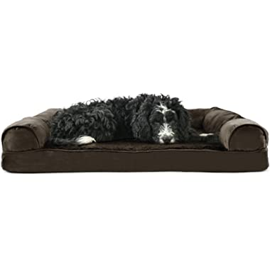 FurHaven Pet Dog Bed | Orthopedic Ultra Plush Sofa-Style Couch Pet Bed for Dogs & Cats - Available in 4 Colors & Sizes