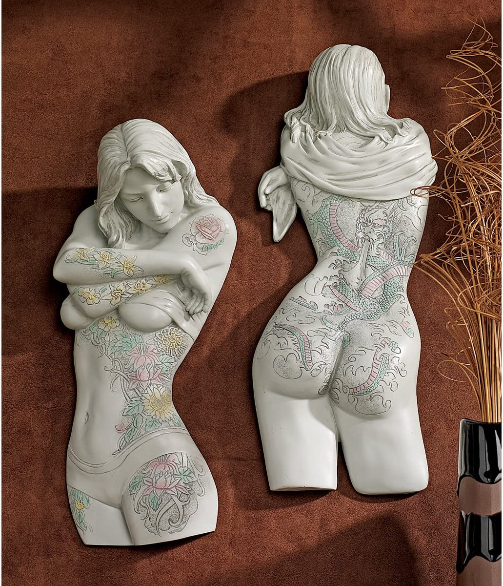 Erotic Nude Female Tattooed Seduction Wall Sculpture Statue Set -Set of 2