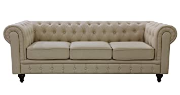 US Pride Furniture S5071 S Linen Fabric Chesterfield Sofa Set, Beige
