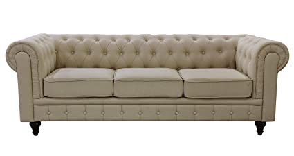 Amazon Com Us Pride Furniture S5071 S Linen Fabric Chesterfield
