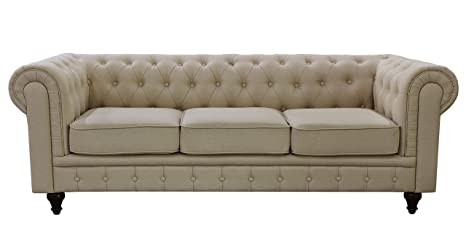 Pleasing Us Pride Furniture S5071 S Linen Fabric Chesterfield Sofa Set Beige Beutiful Home Inspiration Cosmmahrainfo