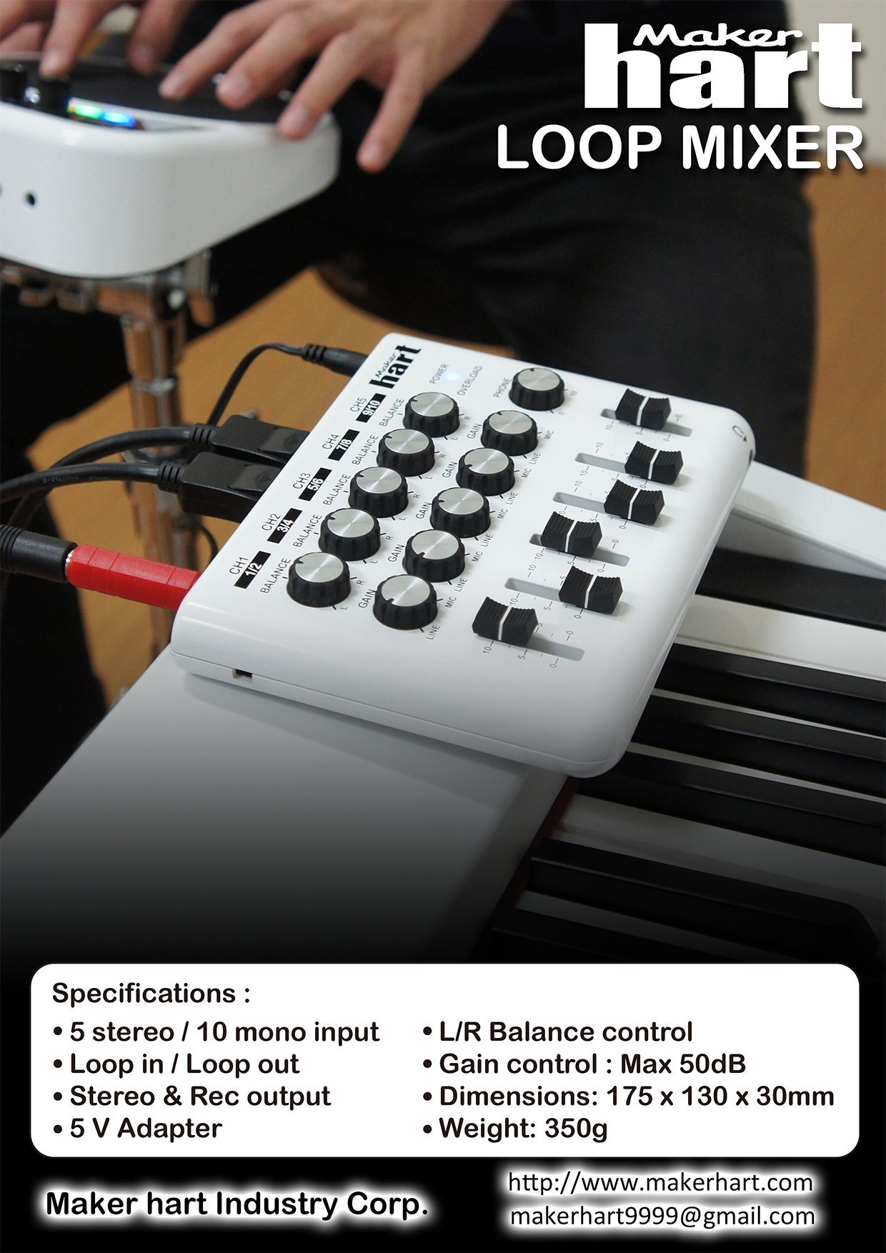 Maker Hart Loop Mixer Portable Audio With 5 Channels X 1 Channel Versatility Mix Music From Computers Smartphones Tablets Gaming Consoles Amazon Echo Dot Mics And Instruments
