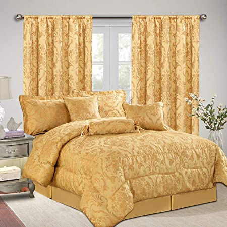 AS Imperial Rooms Luxury Jacquard 7 Piece Bedding with matching Curtains  Bedspreads Comforter Sets Decor Bedroom - (Ruby Double/Gold / 66x72 Bed  Sets ...