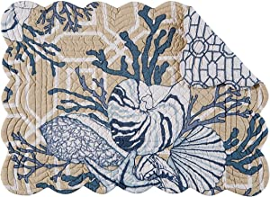 C&F Home Set of 4 PCS, 13X19 Quilted Placemat, Indigo Sound