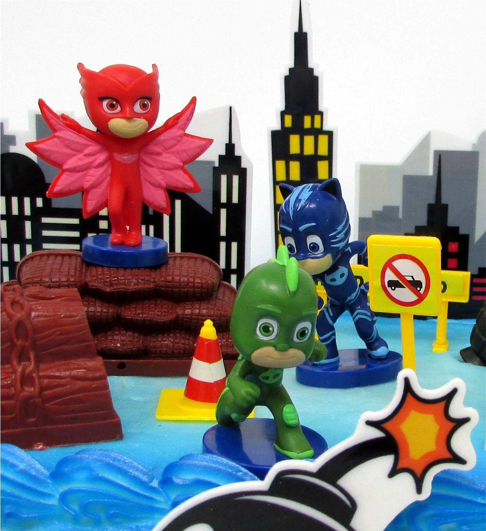 Super Hero PJ MASKS Deluxe Birthday Party Cake Topper Set Featuring Figures and Decorative Accessories by Cake Toppers (Image #4)