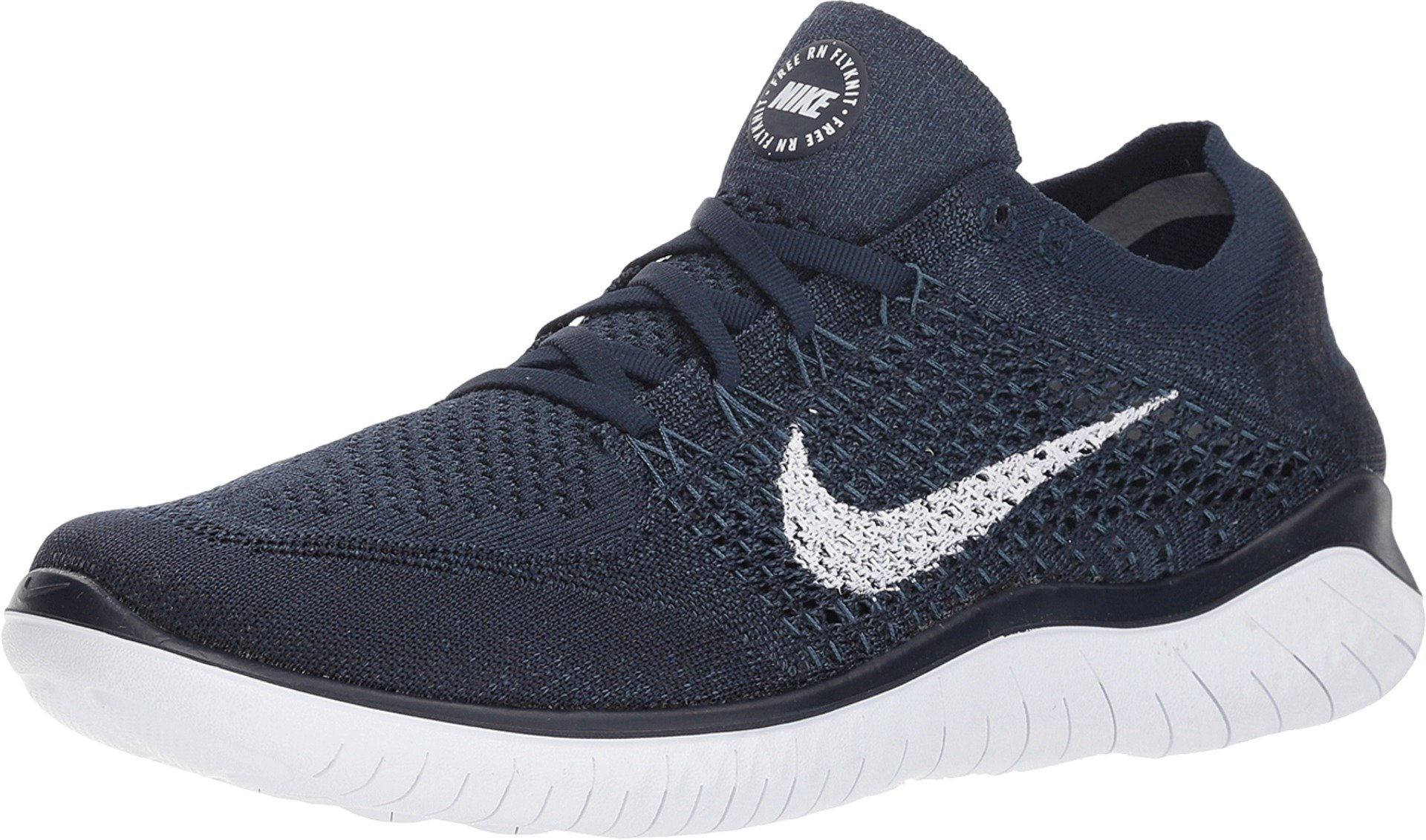 Nike Men's Free RN Flyknit 2018 Running Shoes (15, Navy/White)