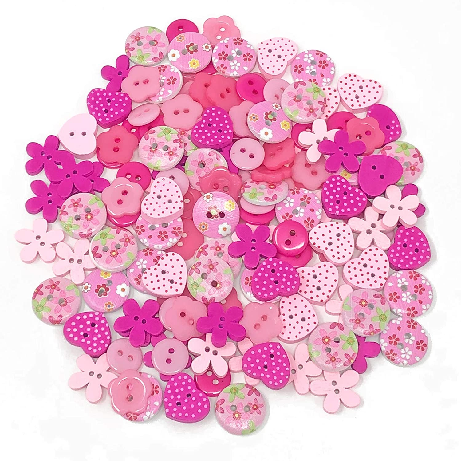 150pcs Pink Mix Wood Acrylic & Resin Buttons For Cardmaking Embellishments Wedding Touches