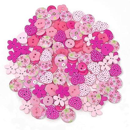 150 piezas con brillantes rosa madera acrílico y resina botones para adornos collages y tarjetas de