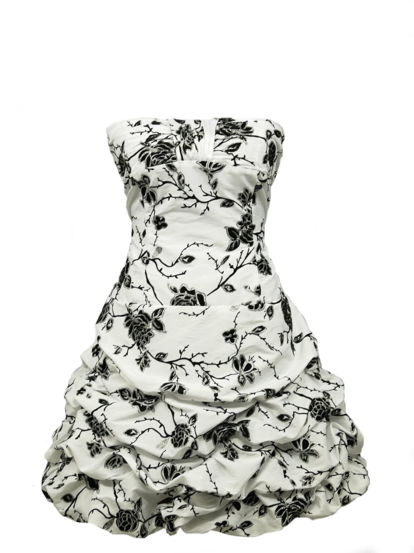 dress190 Puffball 50s Flock Floral Rockabilly Vintage Prom Evening Dress