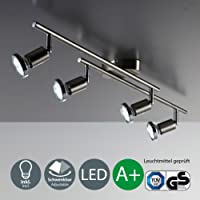 LED ceiling lamp for living room and bedroom I rotatable and pivotable lights and arms I warm white I matt nickel design I 4 x 3 W illuminant I 230 V I GU10 I IP20