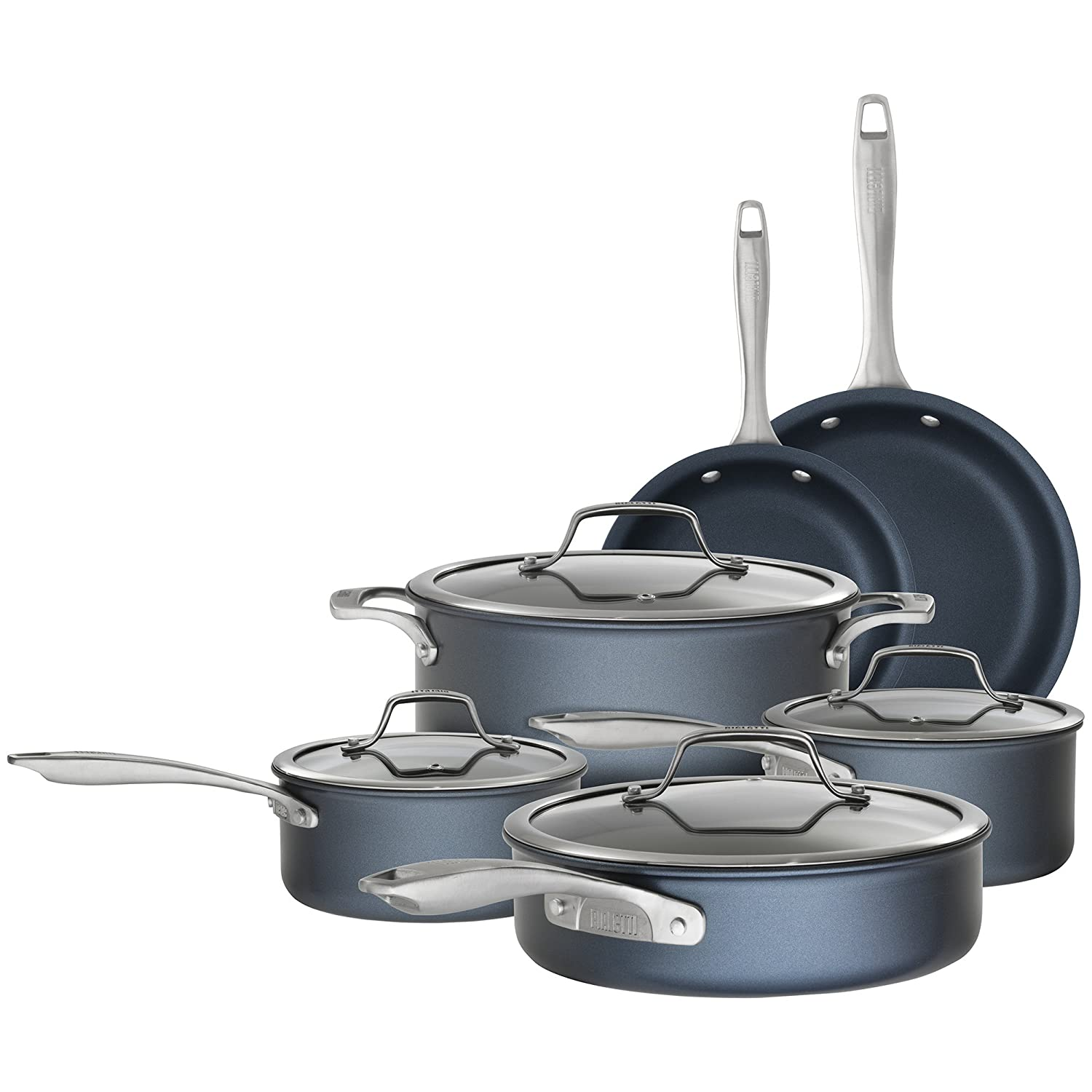 Bialetti 7466 Sapphire 10 piece Nonstick Hard Anodized Cookware Set - Induction Compatible, Dishwasher Safe, Dark Blue