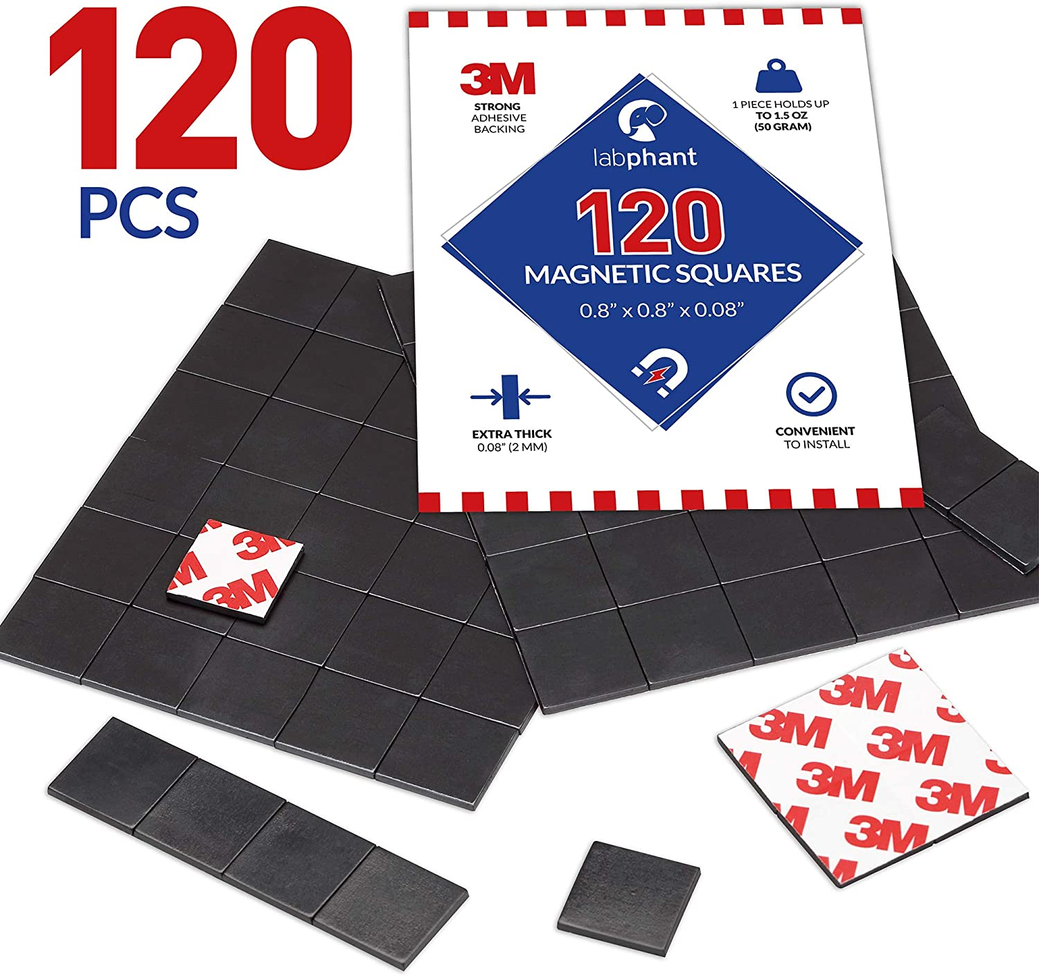 Magnetic Squares, 120 Pieces Magnet Squares (Each 20 x 20 x 2mm) on 4 Tape Sheets, with 3M Strong Adhesive Backing. Perfect for DIY, Art Projects, whiteboards & Fridge Organization (120 Pieces)