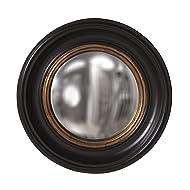 Howard Elliott Albert Round Convex Mirror, Black Lacquer/Gold Leaf Inset, 21 Inch