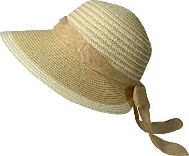 wide brimmed faux straw sun hat tan khaki and off white one size