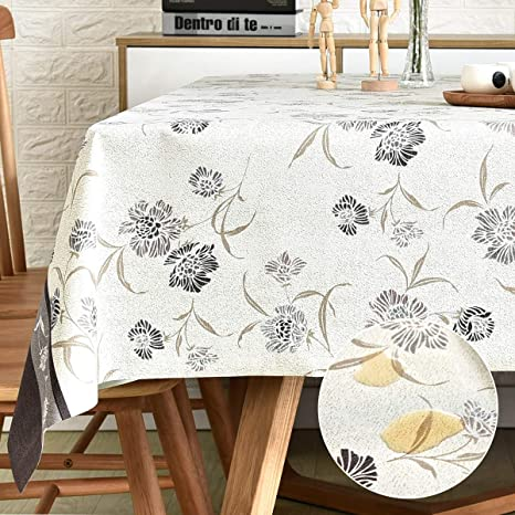 Falling Leaves wipe clean waterproof,56 finished size ELASTIC For Ronika Laminated cotton aka oilcloth tablecloth