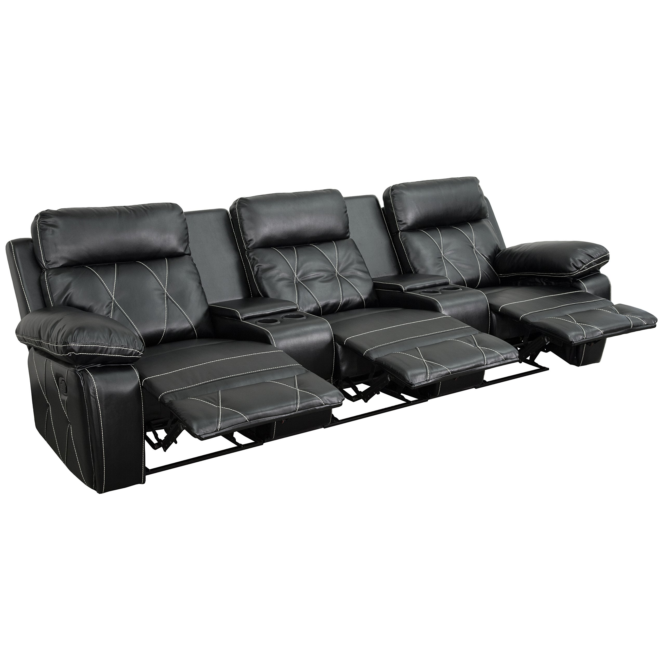 Flash Furniture Reel Comfort Series 3-Seat Reclining Black Leather Theater Seating Unit with Straight Cup Holders by Flash Furniture